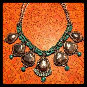 Chico's Teal and Silver Statement Necklace